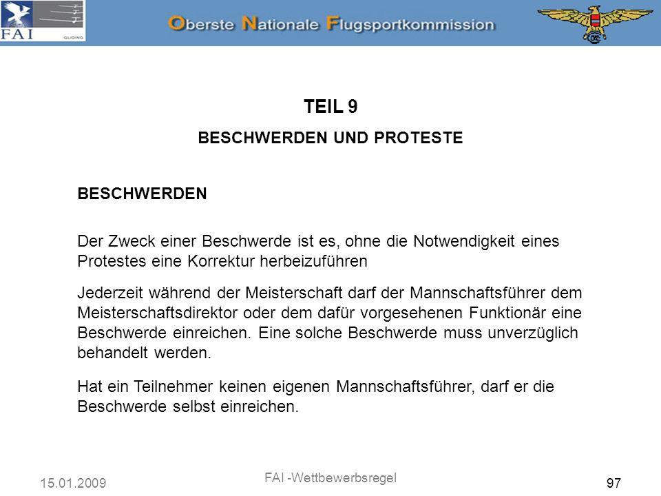 TEIL 9 BESCHWERDEN UND PROTESTE BESCHWERDEN