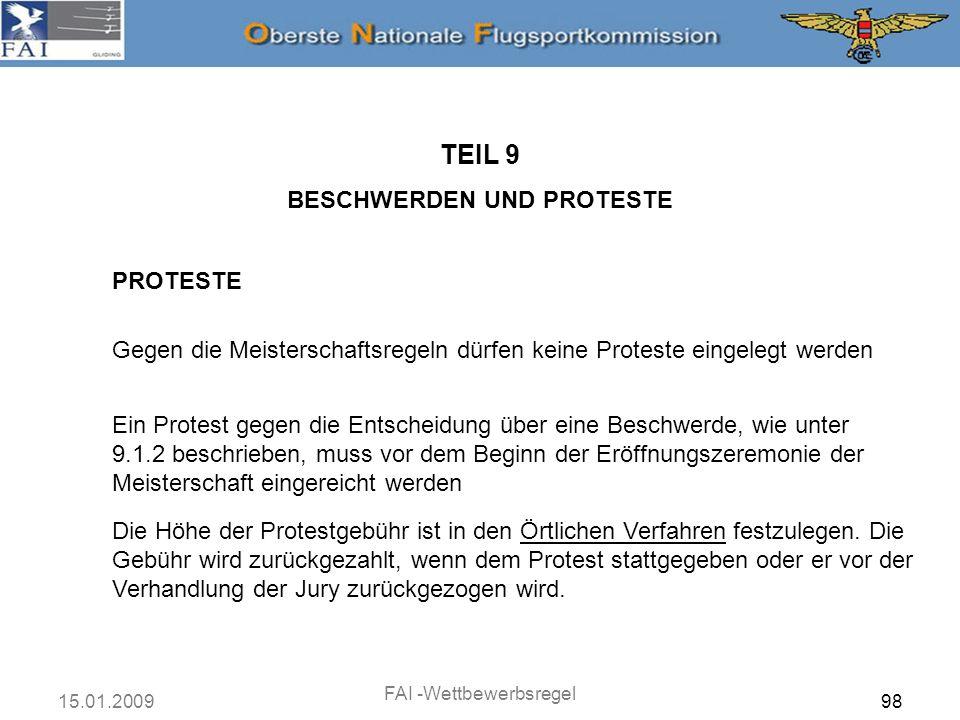 TEIL 9 BESCHWERDEN UND PROTESTE PROTESTE
