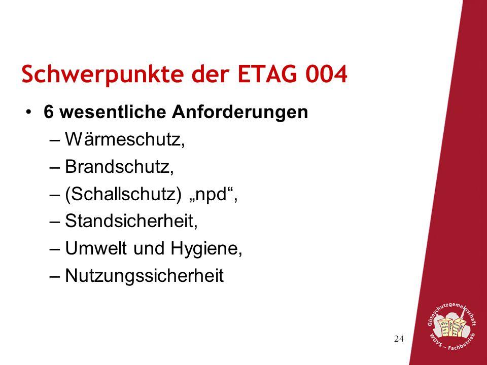 Schwerpunkte der ETAG 004 6 wesentliche Anforderungen Wärmeschutz,