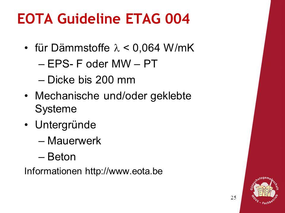 EOTA Guideline ETAG 004 für Dämmstoffe l < 0,064 W/mK