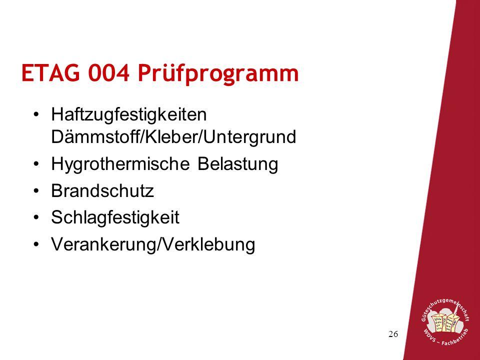 ETAG 004 Prüfprogramm Haftzugfestigkeiten Dämmstoff/Kleber/Untergrund
