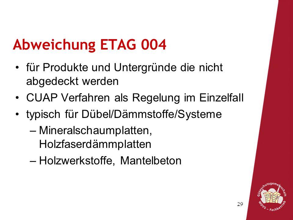 Abweichung ETAG 004 für Produkte und Untergründe die nicht abgedeckt werden. CUAP Verfahren als Regelung im Einzelfall.