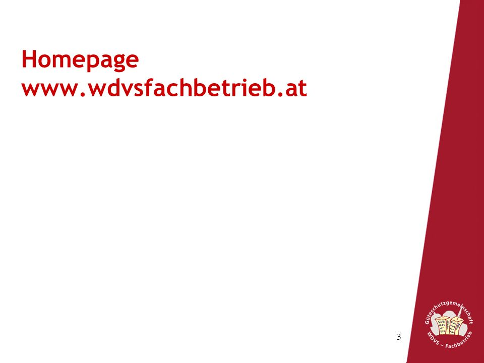 Homepage www.wdvsfachbetrieb.at