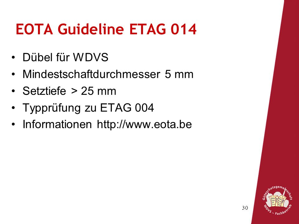 EOTA Guideline ETAG 014 Dübel für WDVS Mindestschaftdurchmesser 5 mm
