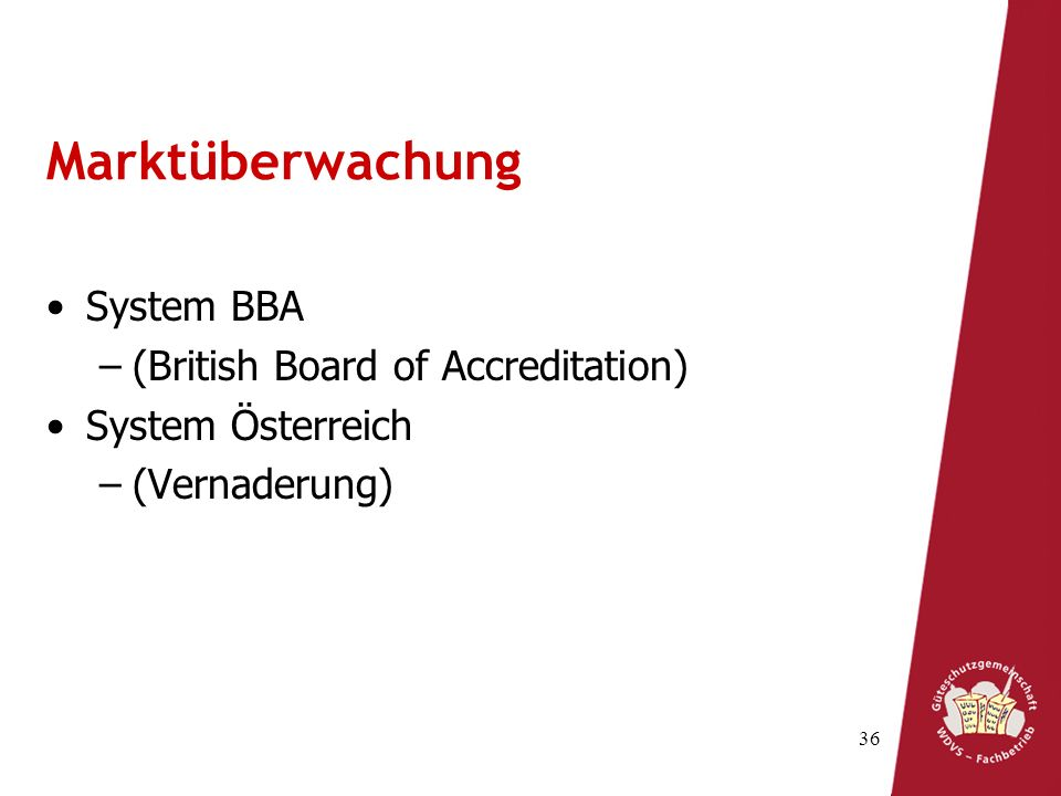 Marktüberwachung System BBA (British Board of Accreditation)