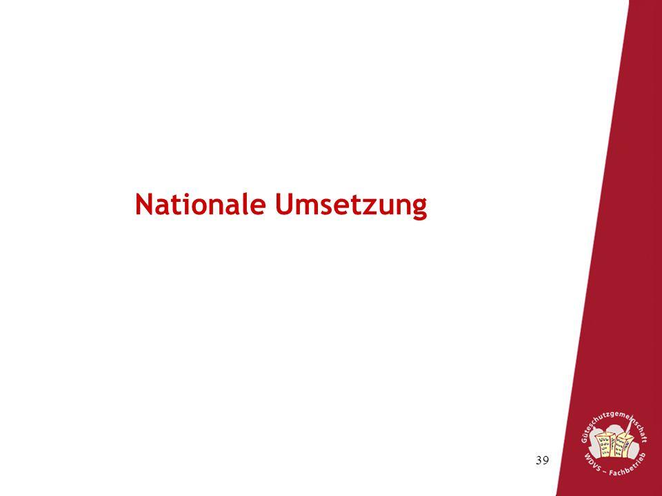 Nationale Umsetzung
