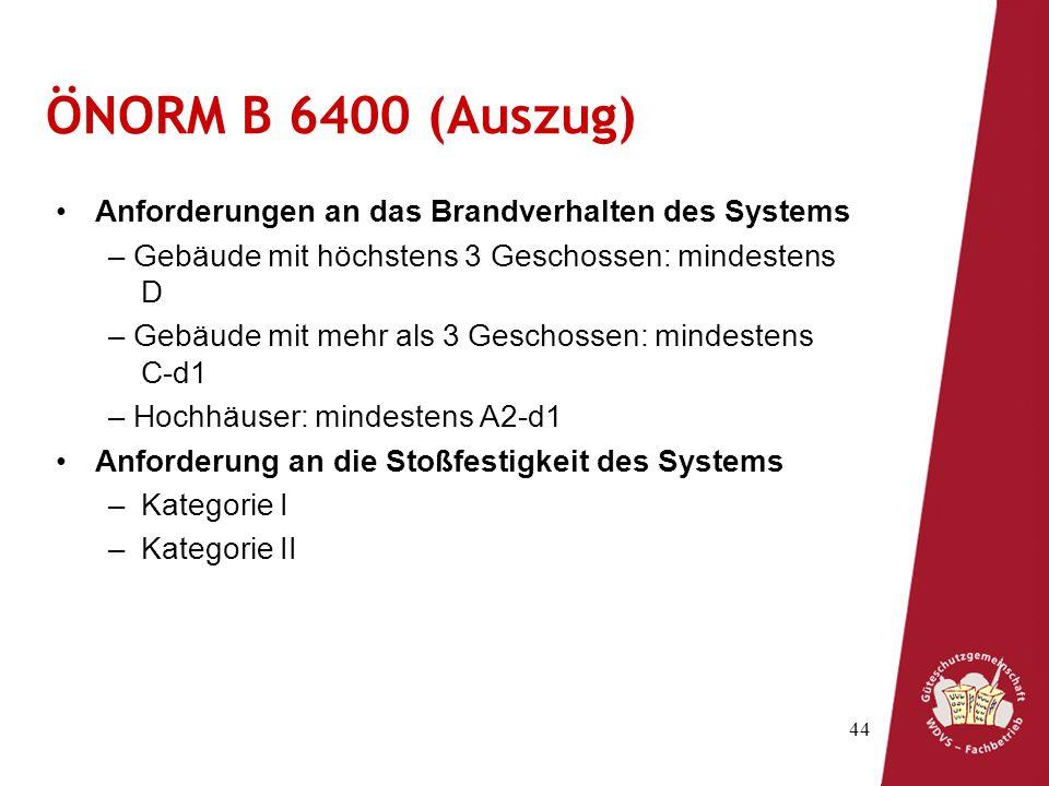 ÖNORM B 6400 (Auszug) Anforderungen an das Brandverhalten des Systems