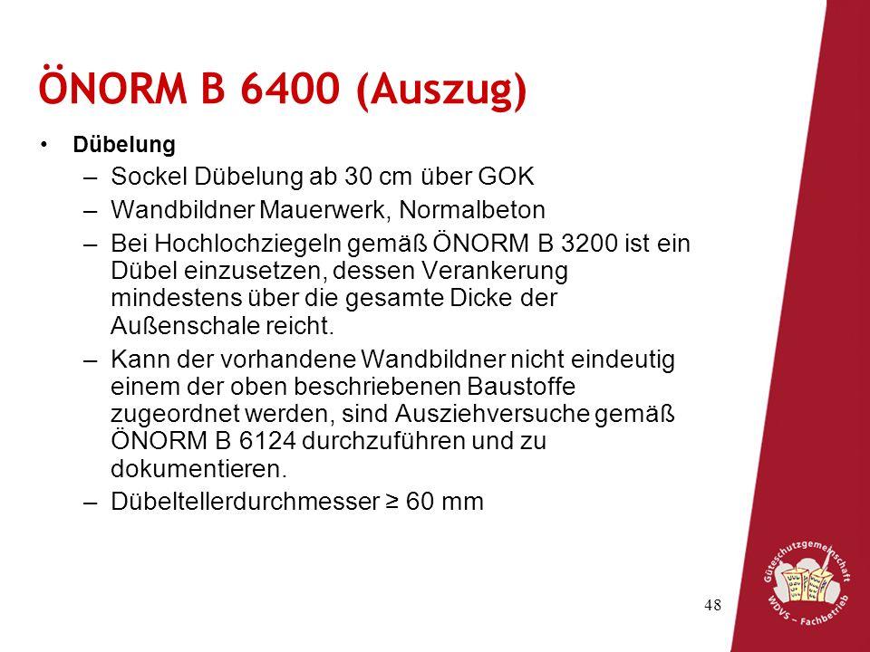 ÖNORM B 6400 (Auszug) Sockel Dübelung ab 30 cm über GOK