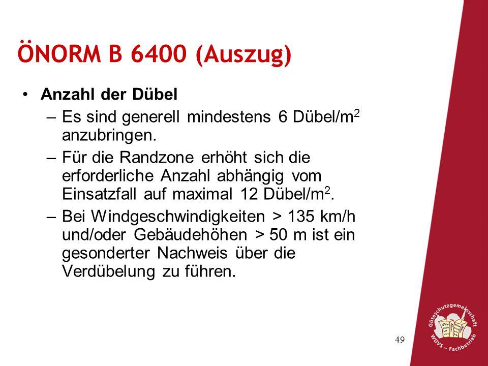 ÖNORM B 6400 (Auszug) Anzahl der Dübel