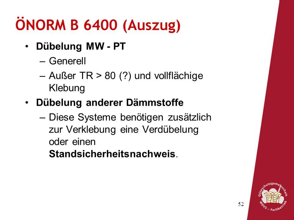 ÖNORM B 6400 (Auszug) Dübelung MW - PT Generell