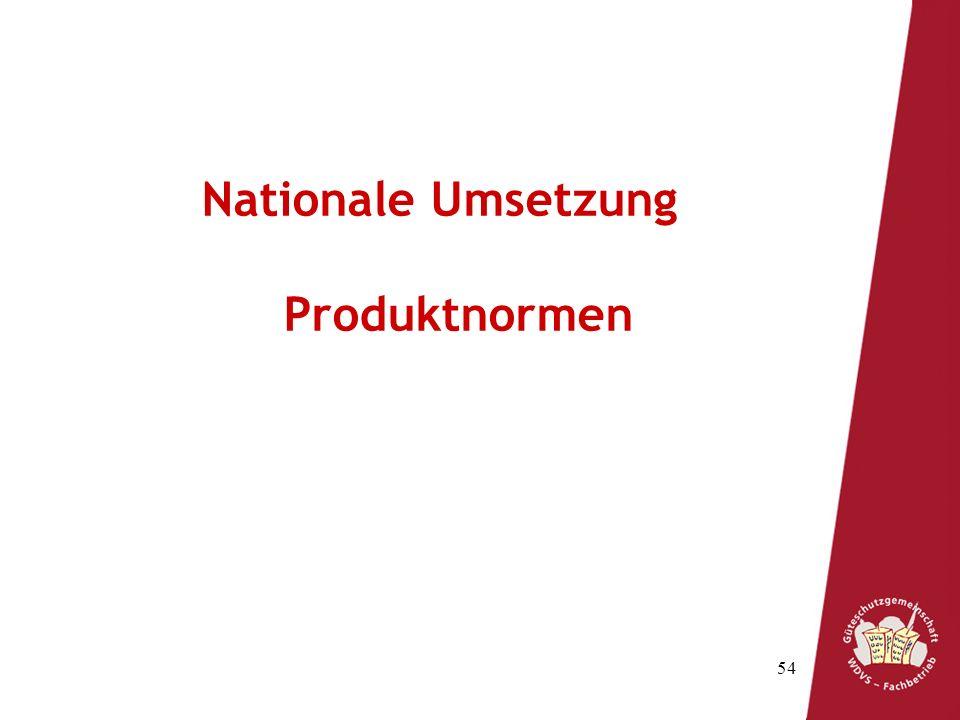 Nationale Umsetzung Produktnormen