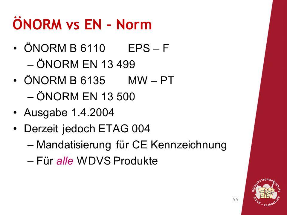ÖNORM vs EN - Norm ÖNORM B 6110 EPS – F ÖNORM EN 13 499