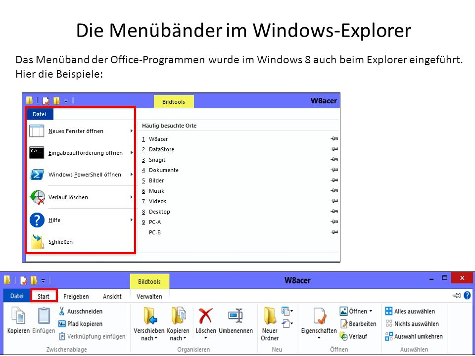 Die Menübänder im Windows-Explorer