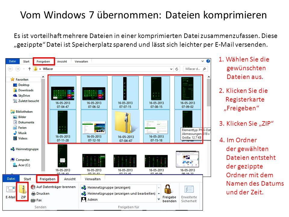 Vom Windows 7 übernommen: Dateien komprimieren