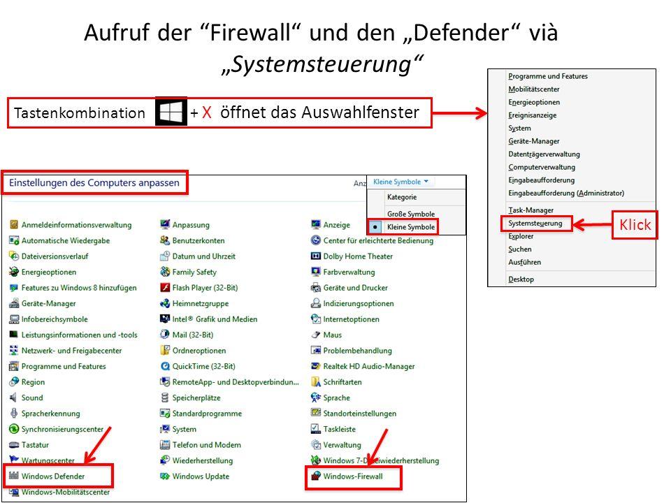 """Aufruf der Firewall und den """"Defender vià """"Systemsteuerung"""