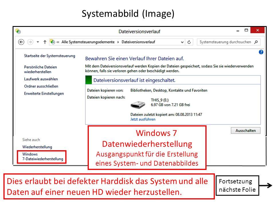 Systemabbild (Image) Windows 7 Datenwiederherstellung. Ausgangspunkt für die Erstellung. eines System- und Datenabbildes.