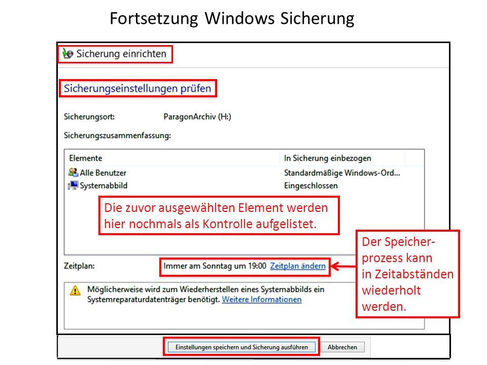 Fortsetzung Windows Sicherung