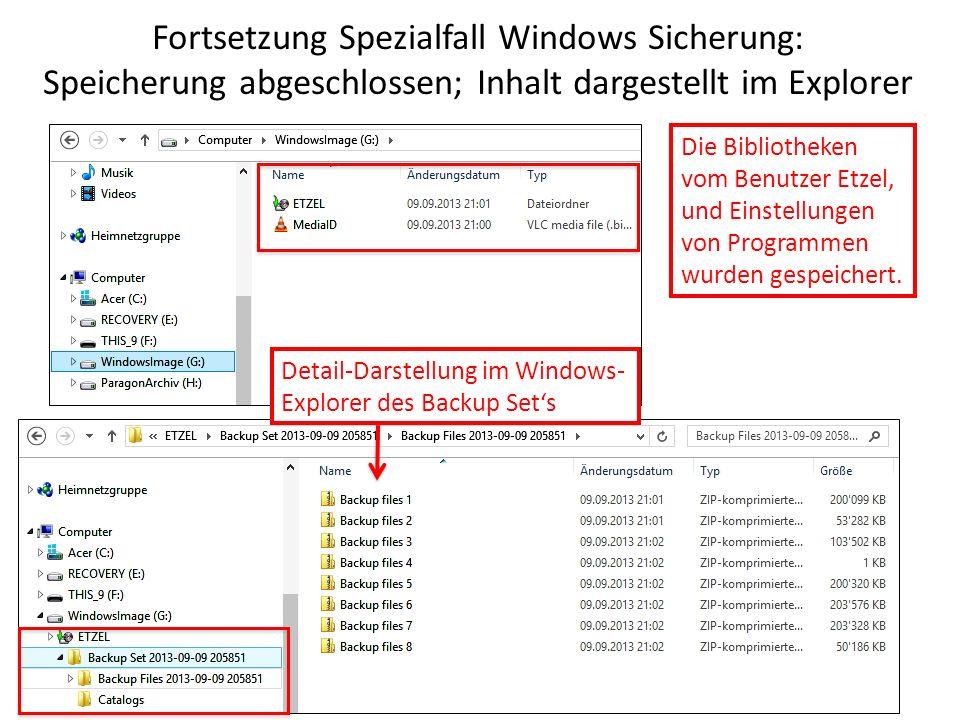Fortsetzung Spezialfall Windows Sicherung: Speicherung abgeschlossen; Inhalt dargestellt im Explorer