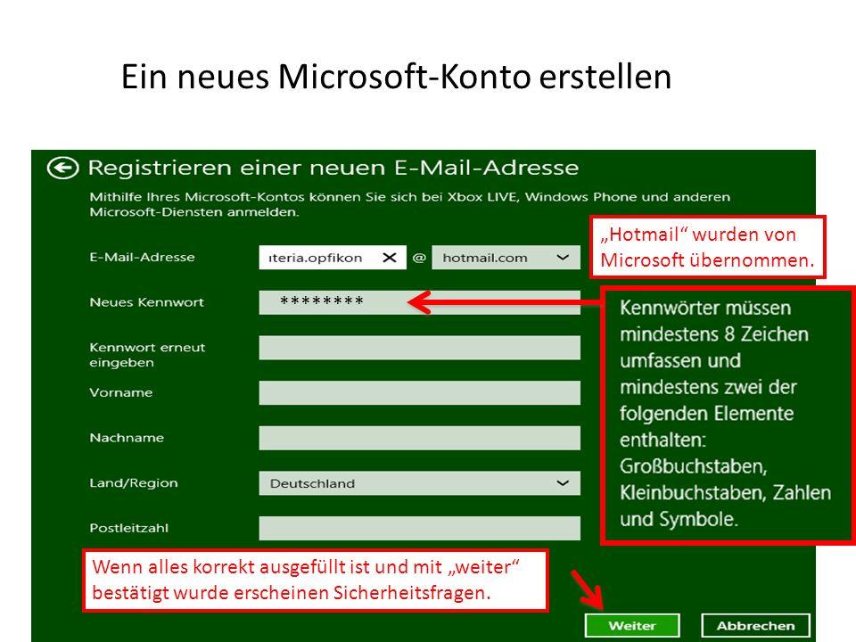Ein neues Microsoft-Konto erstellen