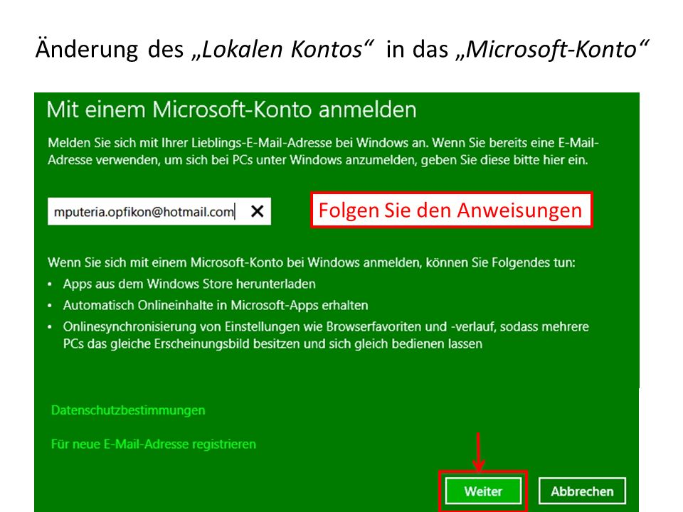 """Änderung des """"Lokalen Kontos in das """"Microsoft-Konto"""
