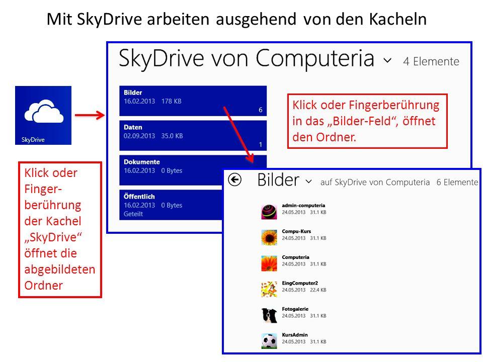 Mit SkyDrive arbeiten ausgehend von den Kacheln