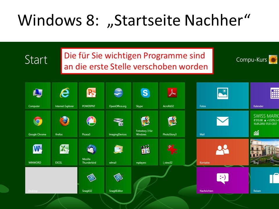 """Windows 8: """"Startseite Nachher"""