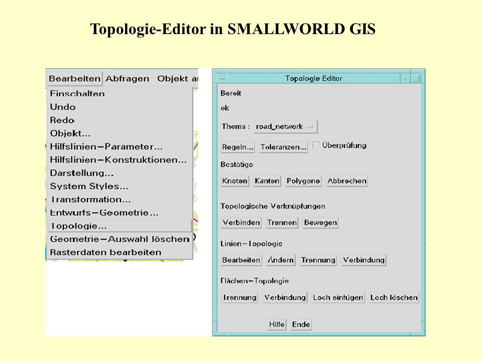 Topologie-Editor in SMALLWORLD GIS