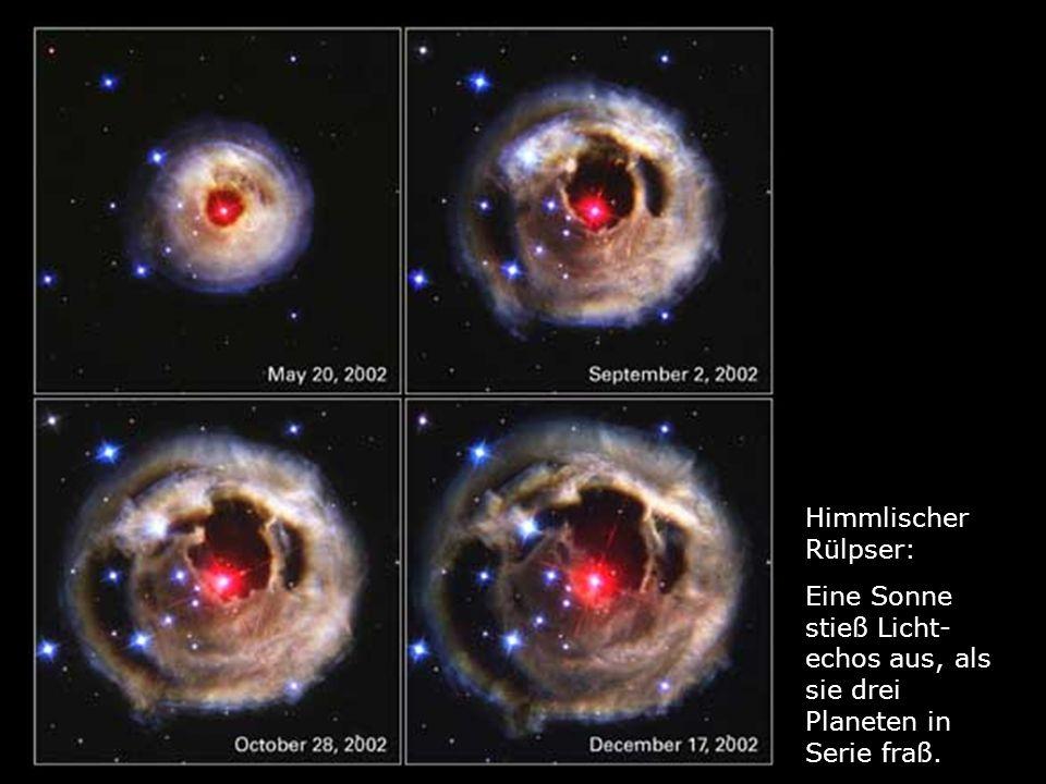 Himmlischer Rülpser: Eine Sonne stieß Licht-echos aus, als sie drei Planeten in Serie fraß.