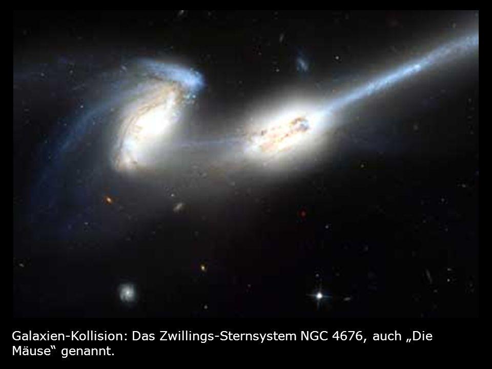 """Galaxien-Kollision: Das Zwillings-Sternsystem NGC 4676, auch """"Die Mäuse genannt."""