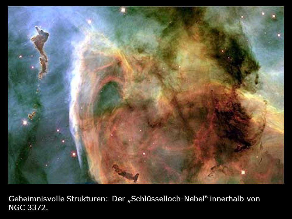 """Geheimnisvolle Strukturen: Der """"Schlüsselloch-Nebel innerhalb von NGC 3372."""