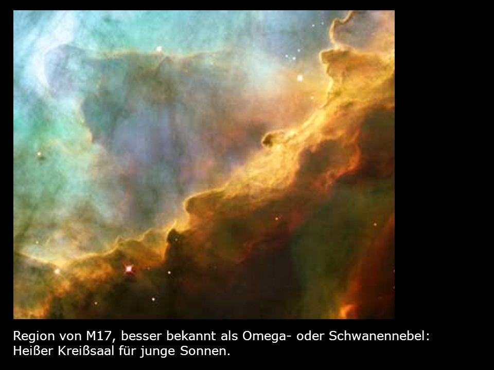 Region von M17, besser bekannt als Omega- oder Schwanennebel: Heißer Kreißsaal für junge Sonnen.