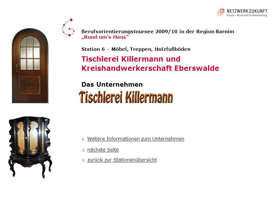 Tischlerei Killermann und Kreishandwerkerschaft Eberswalde