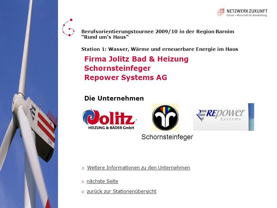 Firma Jolitz Bad & Heizung Schornsteinfeger Repower Systems AG