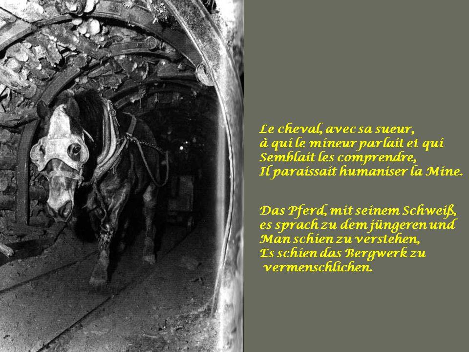 Le cheval, avec sa sueur, à qui le mineur parlait et qui. Semblait les comprendre, Il paraissait humaniser la Mine.