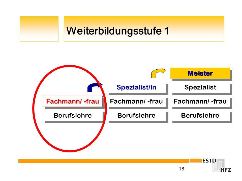 Berufslehre Fachmann/ -frau Spezialist Meister Spezialist/in
