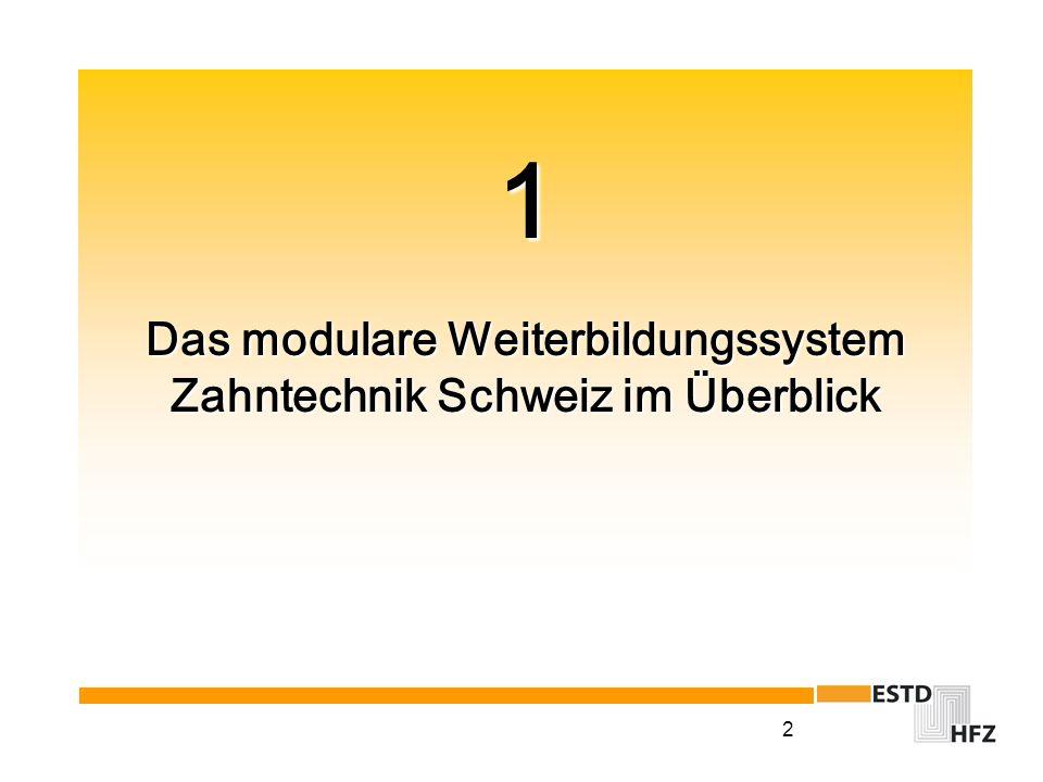 1 Das modulare Weiterbildungssystem Zahntechnik Schweiz im Überblick