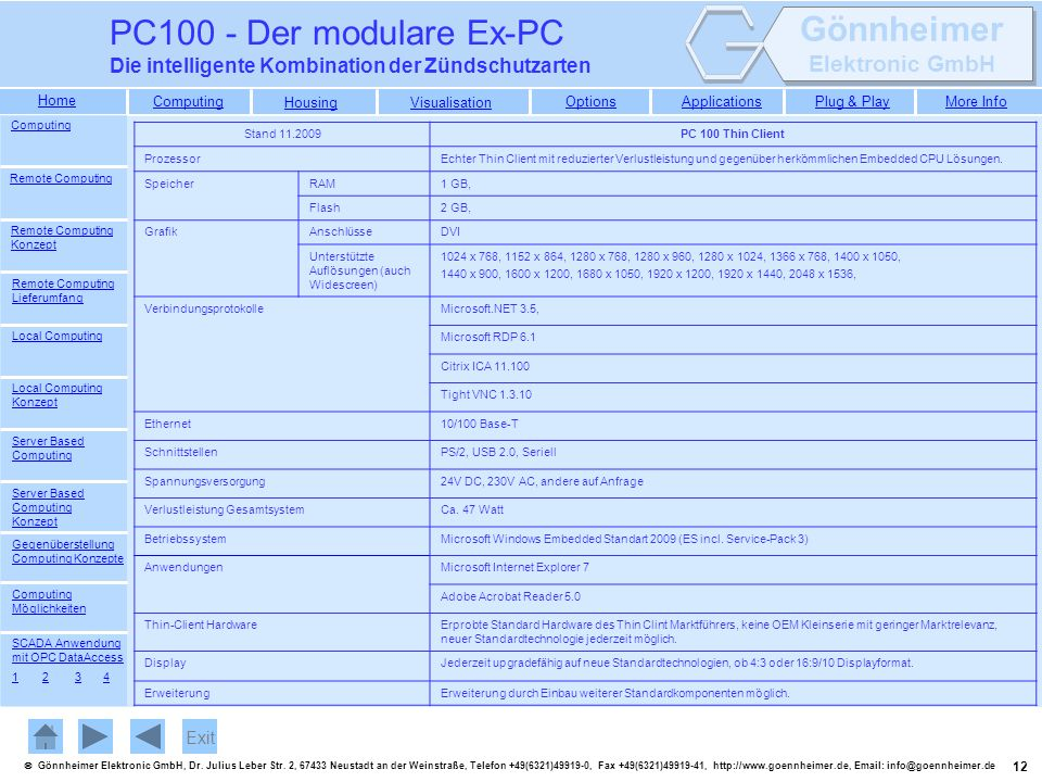 PC100 - Der modulare Ex-PC Die intelligente Kombination der Zündschutzarten. Computing. Stand 11.2009.
