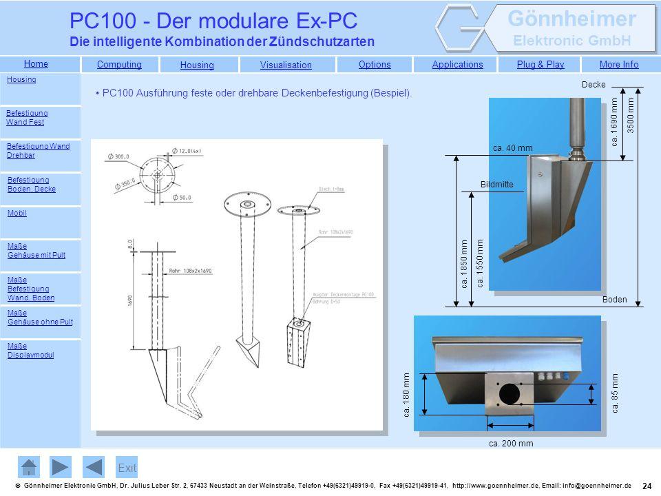 PC100 - Der modulare Ex-PC Die intelligente Kombination der Zündschutzarten. Housing. Decke.