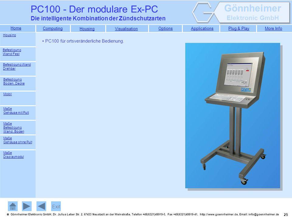 PC100 - Der modulare Ex-PC Die intelligente Kombination der Zündschutzarten. Housing. PC100 für ortsveränderliche Bedienung.