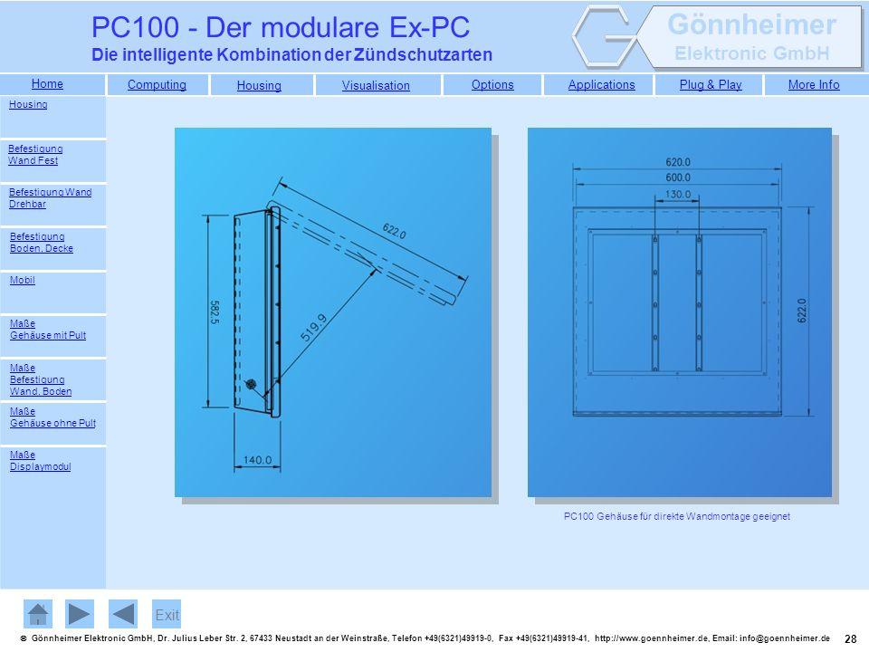 PC100 - Der modulare Ex-PC Die intelligente Kombination der Zündschutzarten. Housing. Befestigung Wand Fest.