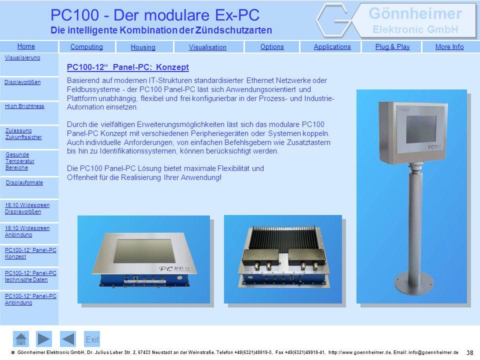 PC100 - Der modulare Ex-PC Die intelligente Kombination der Zündschutzarten. Visualisierung. PC100-12 Panel-PC: Konzept.