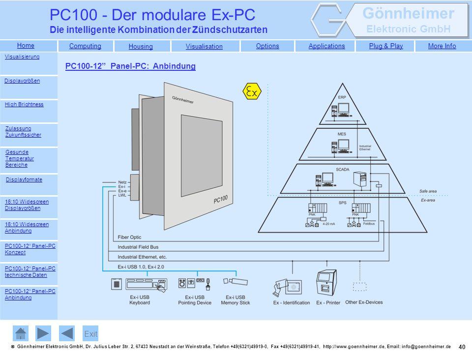 PC100 - Der modulare Ex-PC Die intelligente Kombination der Zündschutzarten. Visualisierung. PC100-12 Panel-PC: Anbindung.