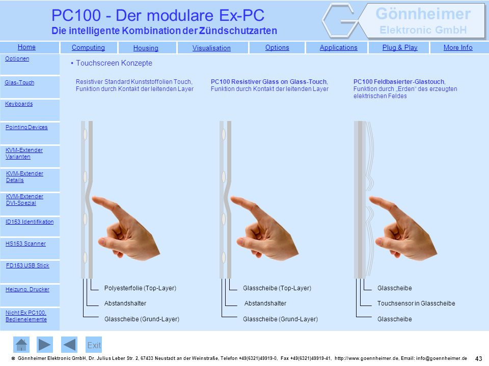 PC100 - Der modulare Ex-PC Die intelligente Kombination der Zündschutzarten. Optionen. Touchscreen Konzepte.
