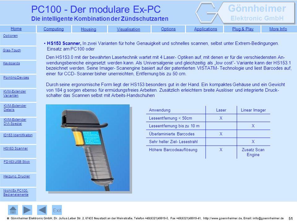PC100 - Der modulare Ex-PC Die intelligente Kombination der Zündschutzarten. Optionen.