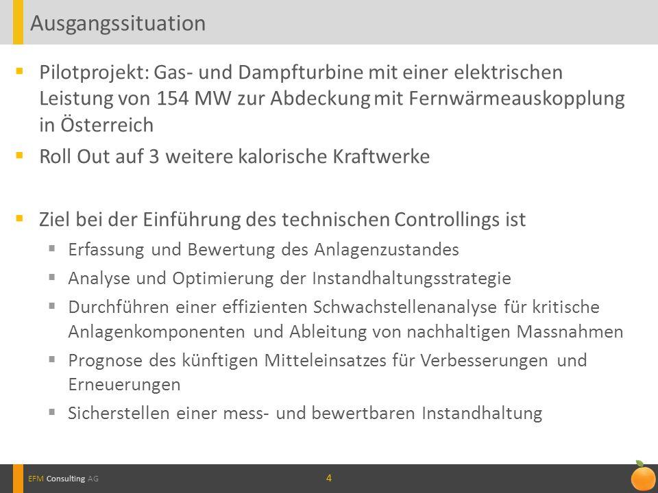 Ausgangssituation Pilotprojekt: Gas- und Dampfturbine mit einer elektrischen Leistung von 154 MW zur Abdeckung mit Fernwärmeauskopplung in Österreich.