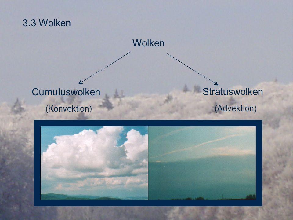 3.3 Wolken Wolken Cumuluswolken (Konvektion) Stratuswolken (Advektion)