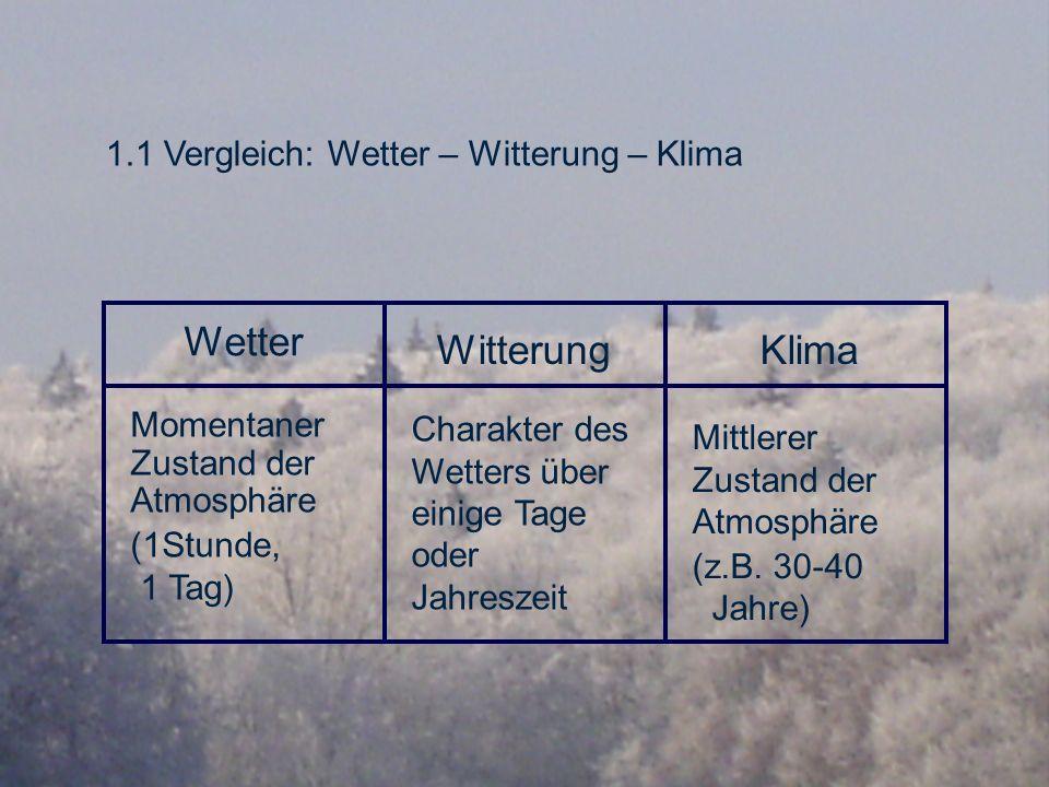 Wetter Witterung Klima 1.1 Vergleich: Wetter – Witterung – Klima