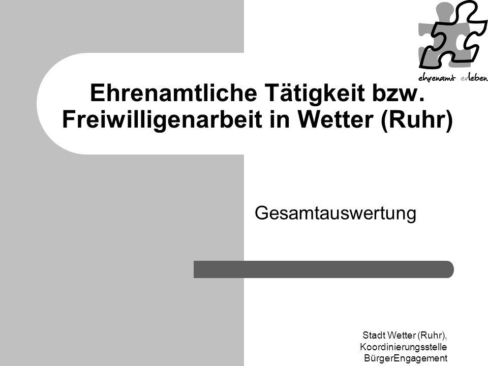 Ehrenamtliche Tätigkeit bzw. Freiwilligenarbeit in Wetter (Ruhr)