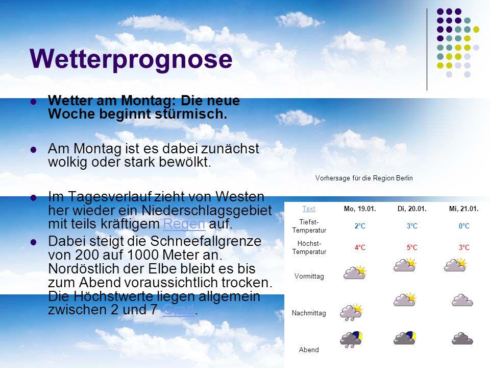 Vorhersage für die Region Berlin