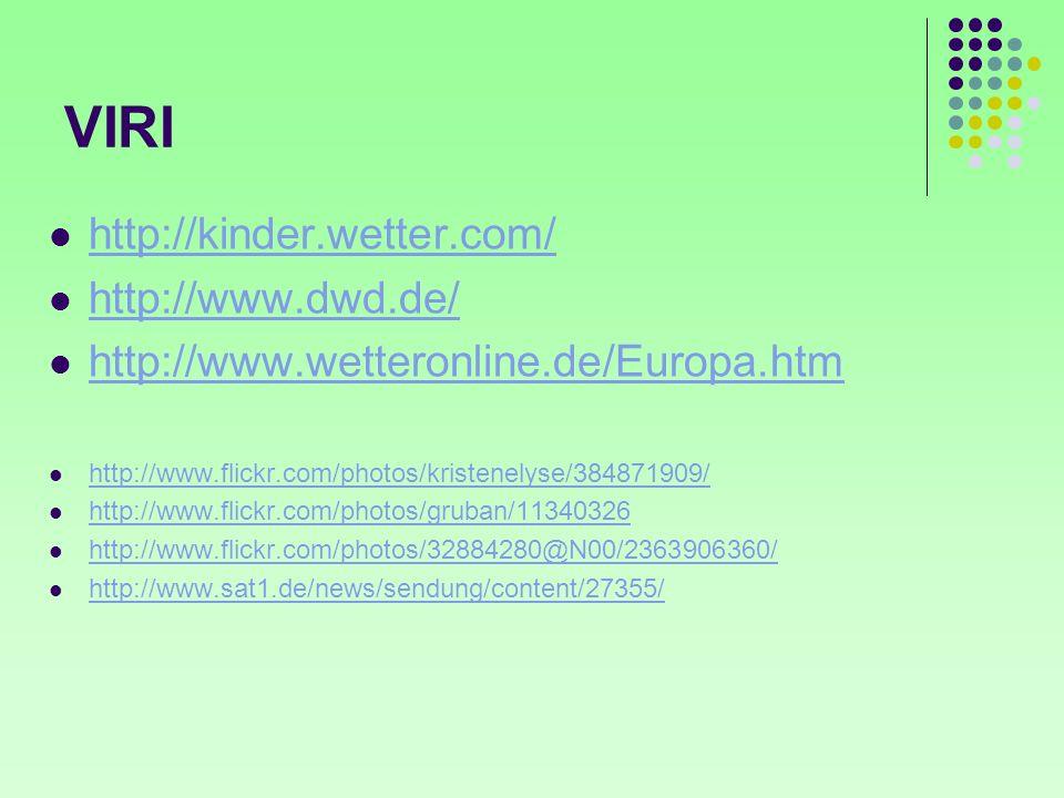 VIRI http://kinder.wetter.com/ http://www.dwd.de/